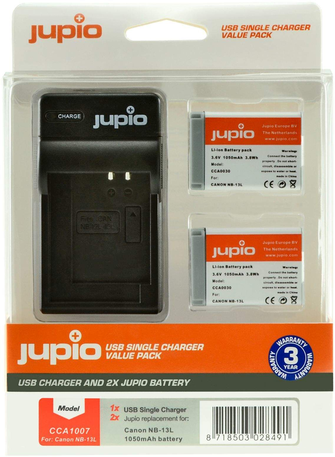 2 x Jupio Canon NB-13 Batteries & Single Charger Kit main image