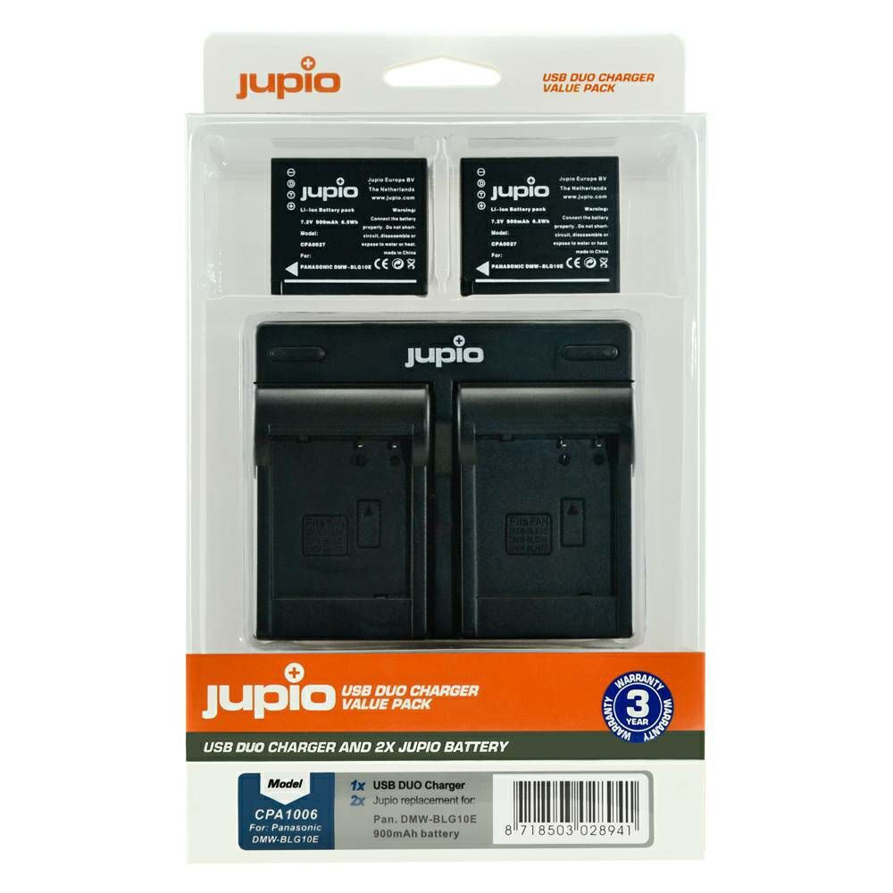 2 x Jupio Panasonic DMW-BLG10 Batteries & Dual Charger Kit main image