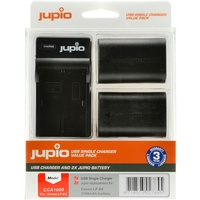 2 x Jupio Canon LP-E6 Batteries & Single Charger Kit