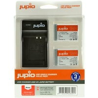 2 x Jupio Batteries & Single Charger Kit (for  Canon NB-13)
