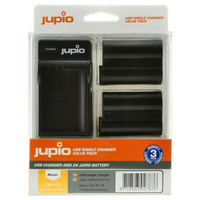 2 x Jupio Nikon EN-EL15 Batteries & Single Charger Kit
