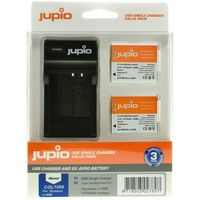 2 x Jupio Olympus Li-90B/Li-92B Batteries & Single Charger Kit