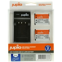 2 x Jupio Olympus Li-40B/Li-42B/NP45/D-Li63/EN-EL10 Batteries & Single Charger Kit