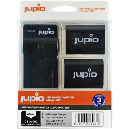 2 x Jupio Sony NP-FZ100 Batteries & Single Charger Kit